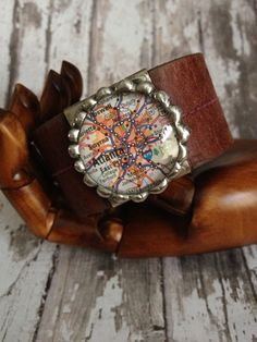 Custom map leather cuff by thoughtfulart on Etsy