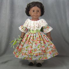 ~ SUNDAY SPECIAL ~ OOAK Civil War Dress for American Girl Addy ~ 7 pcs., includes Addy's Dress with french knots embroidered on the lace collar & closes with snaps, pre-tied ribbon sash, Crinoline, pantalettes, hair accessory, bouquet of flowers, and necklace, by idreamofjeannemarie via eBay Opening Bid $89.00 - SOLD 4/`17/16  $152.53
