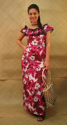 Flowered-Print Puletasi with Rufflied Neckline