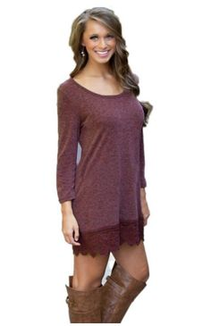 Purple Long Sleeve Casual Dress - MakeMeChic.COM