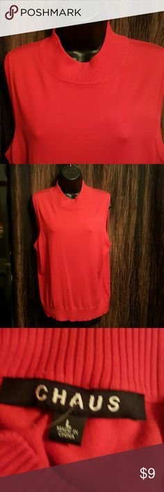 Chaus Nice Red gorgeous turtle neck sleeveless knit top chaus Tops Blouses