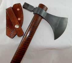 Hand forged hammer poll tomahawk w/LARGE cutting edge, curly ash handle, custom leather sheath