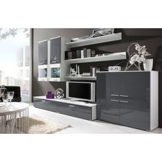 JUSThome COMO II Living Room Furniture Set - Wall Unit with Tv Stand Colour: White Matt/Asch-grey High Gloss Amazon £179