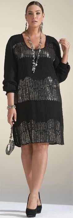 Plus Size Shirt Dress Silver Metallic Sequin Stripes Retro 20's Style #UNIQUE_WOMENS_FASHION
