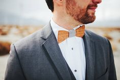 One wacky wooden bow tie. Loving these awesomely #unique #wedding #accessories for men!