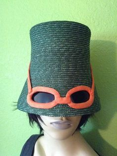 Perhaps I could wear this on the Almafi coast!   EXTREMELY RARE 60's Italian MOD Straw Sunglass Hat & Vintage ORANGE VINYL Hatbox