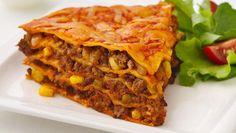 Healthified Beef Enchilada Pie  54% less sat fat • 52% less fat • 29% fewer calories  than the original recipe.