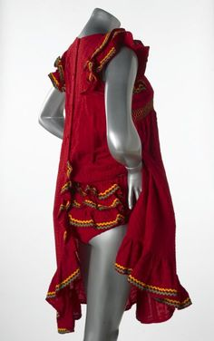 This red seersucker dress was displayed in the exhibition 'Mary Quant's London' held at the London Museum, Kensington Palace, 29 November 1973. - 30 June 1974.