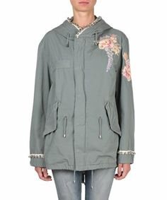 AMEN Embroidered canvas jacket with studs. #amen #cloth #studs