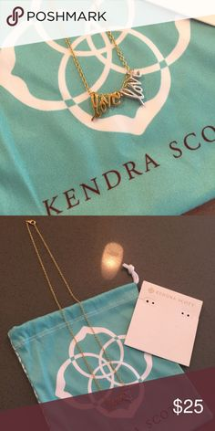 """Kendra Scott """"Love"""" double charm necklace Adorable Kendra Scott 17inch gold plated charm necklace chain with both gold and silver """"love"""" charms, can be worn together or separately easy to swap on and off. Perfect condition never worn, comes with pouch and card backing, no tags as they throw them away at the store when putting your charm necklace together. Kendra Scott Jewelry Necklaces"""