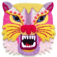 Tiger Rug, Punch Needle Kits, Contemporary Embroidery, Textiles, Textile Artists, Rug Hooking, Fiber Art, Embroidery Stitches, Crochet