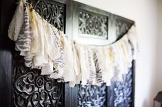 fabric garlands to decorate with and use as backdrops for food table or photo spots. jh