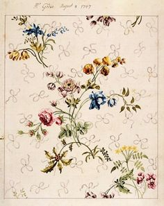 Anna Maria Garthwaite, Summery design for silk weaving, 1747. Watercolor on paper with handwritten notations. @Victoria and Albert Museum
