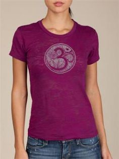 BelaBela OM Burnout Tee Violet   Color options Metallic Silver on Violet Black on Ash Heather  www.downdogboutique.com #YogaClothes #Yoga
