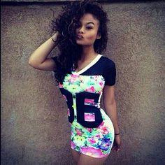 Floral Varsity Shirt Dress. Swag. Dope. Urban Fashion. Hip Hop Fashion. Urban Outfit. Hip Hop Outfit. India Westbrooks Style