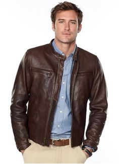 Fossil leather brown jacket