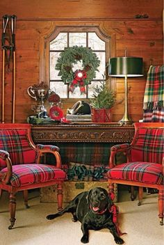 Christmas at the cabin in tartan and with the dog of course!