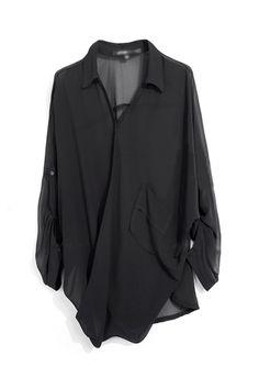 Loose Style Black Chiffon Shirt