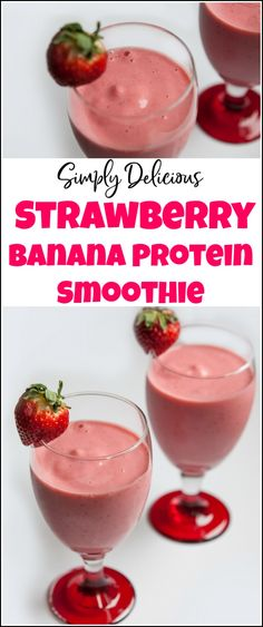 Enjoy this delicious strawberry banana protein smoothie for a snack or breakfast. Healthy and delicious smoothie with protein. This protein fruit smoothie is sure to please your taste buds. Protein Smoothies, Healthy Fruit Smoothies, Breakfast Smoothie Recipes, Protein Shake Recipes, Breakfast Healthy, Breakfast Fruit, Fruit Snacks, Healthy Snacks, Breakfast Ideas