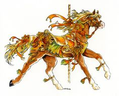 Carousel Autumn final by Hbruton on DeviantArt Carosel Horse, Horse Artwork, Horse Paintings, Fantasy Figures, Horse Pattern, Carousel Designs, Merry Go Round, Horse Drawings, Deviantart