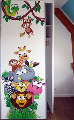 wall painting, jungle animals. Fresque murale animaux de la jungle