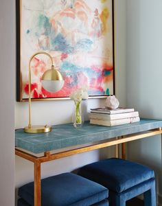 Luxe Studio Apartment Makeover. VT: I love that console table. Perhaps I can DIY it