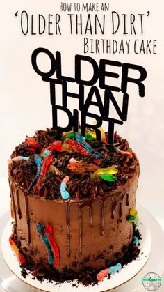 Easy-to-make chocolate Oreo 'dirt' birthday cake, decorated with gummy worms and an 'Older than Dirt' cake topper! Easy-to-make chocolate Oreo 'dirt' birthday cake, decorated with gummy worms and an 'Older than Dirt' cake topper! Birthday Cakes For Men, Birthday Cake Video, Christmas Birthday Cake, Christmas Desserts, Easy Boy Birthday Cake, Amazing Birthday Cakes, Cakes To Make, How To Make Cake, Chocolate Birthday Cake Decoration