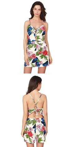29454f52207 Fashion Vintage Floral Print Women Sleeveless Backless Playsuit Ladies  Jumpsuit Summer Beach Romper in 2019