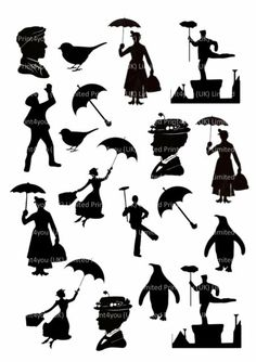 Mary Poppins Silhouettes Icing Cupcake Cake Toppers Decorations Edible for sale online Disney Diy, Disney Crafts, Disney Pixar, Mary Poppins Chimney Sweep, Mary Poppins Silhouette, Cupcake Icing, Cupcake Toppers, Disney Silhouettes, Silhouette Clip Art