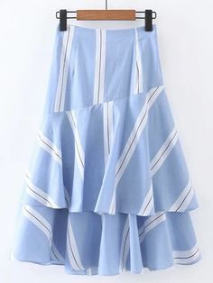 SheIn offers Bow Tie Waist Layered Ruffle Skirt & more to fit your fashionable needs. Chiffon Skirt, Ruffle Skirt, Dress Skirt, Cute Skirts, Short Skirts, A Line Skirt Outfits, Modest Fashion, Fashion Dresses, Chambray Skirt