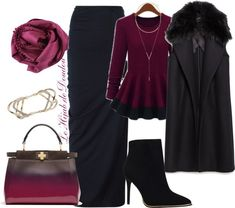 Hijab Outfit Black skirt, long vest, ankle boots, maroon shirt, scarf, bag, gold ring