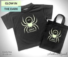 Will you be celebrating your little ones first Halloween?? With this matching personalised Glow in the Dark Spider t-shirt and Halloween Trick or Treat Bag your little one is sure to stand out, and why not order yourself a matching shirt!! So whether you are looking for a first Halloween gift or something cute to wear yourself, this shirt and matching goody bag personalized with any name will be a much loved addition to the spooky day!! When ordering, please note the name required in… Halloween Goodie Bags, Halloween Party Favors, Halloween Goodies, Halloween Trick Or Treat, Halloween Gifts, First Halloween Costumes, Halloween Outfits, Trick Or Treat Bags, Personalized Baby Gifts
