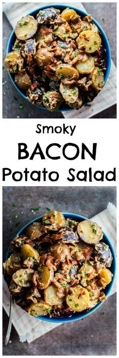 This potato salad has plenty of crispy bacon that is complemented by a delicious smoky-tangy dressing and fresh herbs. It's the perfect summery side dish!