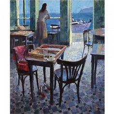 Pavlos Samios (Greek, b. Monet Paintings, Landscape Paintings, Surrealist Collage, Greece Painting, Religious Paintings, Painting Workshop, Greek Art, Human Art, Traditional Paintings