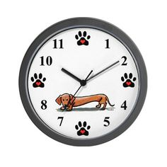 Dachshund lovers wall clock by contemporary PUP Artist, KiniArt. © KiniArt™ - All Rights Reserved. #dogs #doxie #dachshund #wienerdog