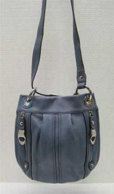 B Makowsky Light Blue Gray Pebbled Leather Convertible Crossbody Bag Handbag Ebay