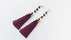 Long Tassel Earrings with Garnet beads on a gold filled ear hooks Party Statement Earrings Bohemian Jewelry