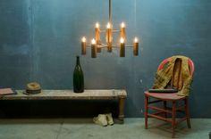Italian Modern Brass Scolari Chandelier : 20th Century Vintage Industrial Modern50 Style