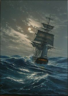 Read Al otro extremo from the story 🐚La voz de las Sirenas Ship Paintings, Seascape Paintings, Landscape Paintings, Landscapes, Old Sailing Ships, Pirate Art, Ship Drawing, Fantasy Landscape, Tall Ships