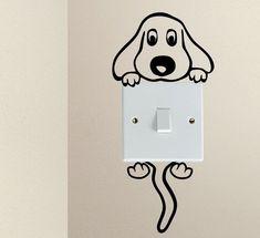 Cute Dog Cartoon Doggy Puppy Baby Pet light switch funny vinyl Love Heart decor funny wall art decal stickers Baseboard Kids #DogCartoon