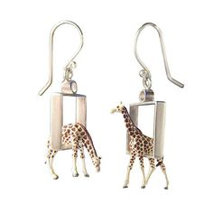 Giraffes in Squares Earrings by Kristin Lora. Sterling silver squares with tiny giraffes (train set figures). One standing and one drinking giraffe hang 3 dimensionally in these adorable swinging earrings. Dimensions listed refer to the square and giraffe. Total length is 2 .