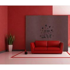 Vinilos Decorativos- Frases Amor. All You Need Is Love WALL STICKER DECOR