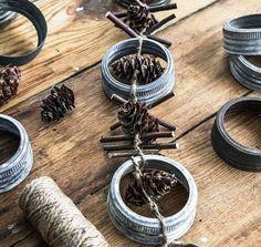 Mason Jar Lid and Pinecone Garland   Stunningly Beautiful DIY Homemade Christmas Ornaments