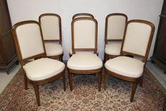 Suite De Six Chaises Art Déco En Noyer, Camélia Antiquités, Proantic Dining Chairs, Furniture, Home Decor, Stools, Chairs, Art Deco Chair, Drown, Dinner Room, Decoration Home