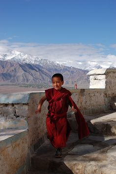 a novice buddhist monk runs down from morning prayers after receiving his allowance, thiksey monastery, ladakh, india People Around The World, Around The Worlds, Monte Everest, Ladakh India, India India, Beautiful People, Beautiful Pictures, Little Buddha, Steve Mccurry