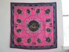 """Large Silk Square Scarf~100% Silk Twill Scarf~40"""" x 40"""" (100cm x 100cm) Hand-Rolled Silk Scarf Square Carriage and Emblems Pink Black Geometric Print"""