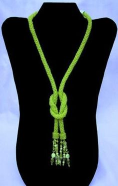 Lime Rope Knotted Necklace by CMTbeadwork on Etsy Fabric Necklace, Knot Necklace, Fabric Jewelry, Beaded Necklace, Knitted Necklace, Necklace Ideas, Wire Earrings, Necklaces, Rope Jewelry
