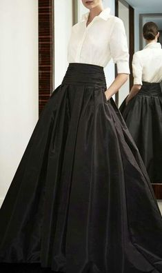 Carolina Herrera. Silk Cumberband Ball Gown Skirt. | crisp white shirt +  full long black skirt with wide band