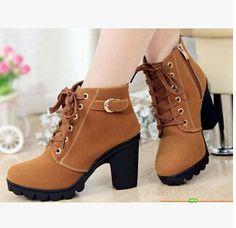 Otoño e invierno de terciopelo de arranque corto tacones gruesos salvaje negro mate zapatos femeninos señorita Han Ban ol botas Martin envío gratis XZ03