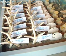 beach wedding name tags for place setting